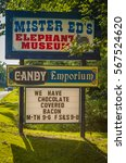 Small photo of Orrtanna, PA - June 2, 2012: Sign of the Mister Eds Elephant Museum and Candy Emporium in western Adams County.
