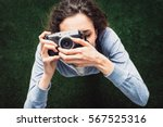 young photographer girl... | Shutterstock . vector #567525316