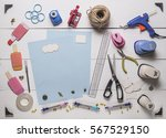 top view of blue pages and... | Shutterstock . vector #567529150