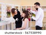 beauty salon  the girl makeup...   Shutterstock . vector #567538990