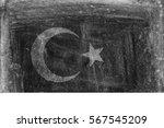 grunge black and white flag of... | Shutterstock . vector #567545209