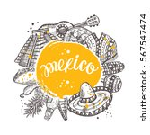mexico concept with traditional ... | Shutterstock .eps vector #567547474