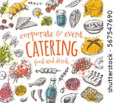 catering card. hand drawn... | Shutterstock .eps vector #567547690