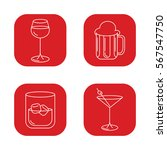 alcohol set icons  martini ...