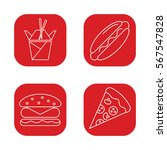 fast food set icons  pizza  hot ...