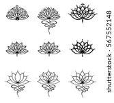 set ornamental lotus flower... | Shutterstock .eps vector #567552148