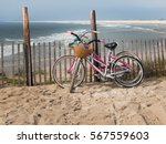 two bicycles leaning against a...   Shutterstock . vector #567559603