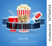 cinema and movie time concept... | Shutterstock .eps vector #567564418