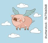 Cute Little Pig Flying In The...