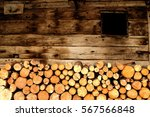 Cutted Trunks In A Alpin Hut I...