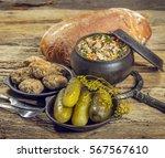 the food in the village. pork... | Shutterstock . vector #567567610