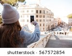 back view of woman tourist... | Shutterstock . vector #567572854