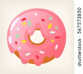 pink strawberry donut with... | Shutterstock .eps vector #567573850