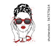 beautiful girl with glasses.... | Shutterstock .eps vector #567575614