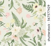 seamless floral pattern with... | Shutterstock .eps vector #567577429