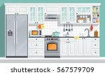 kitchen appliances. flat room... | Shutterstock .eps vector #567579709