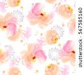 seamless watercolor flower... | Shutterstock . vector #567585160
