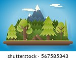 paper wood mountain flat design ... | Shutterstock .eps vector #567585343