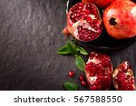 fresh red pomegranate and seed  ... | Shutterstock . vector #567588550