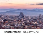 sagrada familia and panorama... | Shutterstock . vector #567594073