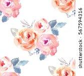 cute watercolor flower... | Shutterstock . vector #567594316