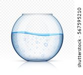realistic glass fish bowl ... | Shutterstock .eps vector #567595210