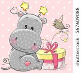 greeting card cute hippo with... | Shutterstock .eps vector #567609088
