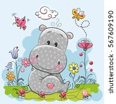 Cute Cartoon Hippo With Flower...