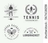 set of vintage tennis logos ...   Shutterstock .eps vector #567618058