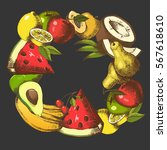 background with fruits arranged ... | Shutterstock .eps vector #567618610