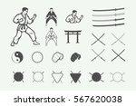set of vintage karate or... | Shutterstock .eps vector #567620038