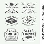 set of vintage camping outdoor... | Shutterstock .eps vector #567620809