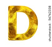 Gold letter - D - stock photo