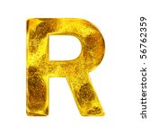 Gold letter - R - stock photo