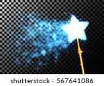 magic wand with bright sparkles.... | Shutterstock .eps vector #567641086