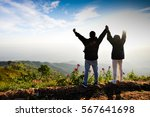 couple stand on beautiful... | Shutterstock . vector #567641698
