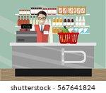 supermarket store counter desk... | Shutterstock .eps vector #567641824