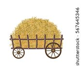 wooden four wheel cart with hay.... | Shutterstock .eps vector #567645346