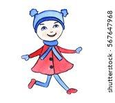 hand drawn watercolor cartoon... | Shutterstock . vector #567647968