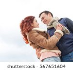 beautiful young tourist couple... | Shutterstock . vector #567651604