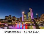 Stock photo toronto city hall and nathan phillips square at night 567651664
