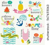 bright summer set with cute... | Shutterstock .eps vector #567655063