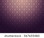 Purple Damask Wallpaper With...