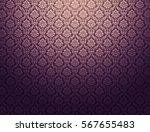 purple damask wallpaper with...   Shutterstock . vector #567655483