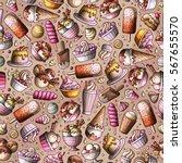 cartoon hand drawn ice cream... | Shutterstock .eps vector #567655570