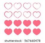 pink valentine hearts set....   Shutterstock .eps vector #567660478