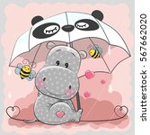 Stock vector cute hippo and two bee with umbrella 567662020