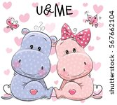 two cute hippos on a hearts... | Shutterstock .eps vector #567662104