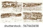 rural landscapes. hand drawn set | Shutterstock .eps vector #567663658