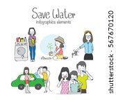 save water infographics   eco... | Shutterstock .eps vector #567670120